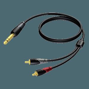 Procab CAB719 6,3 mm male naar 2x RCA male 1,5 meter huren